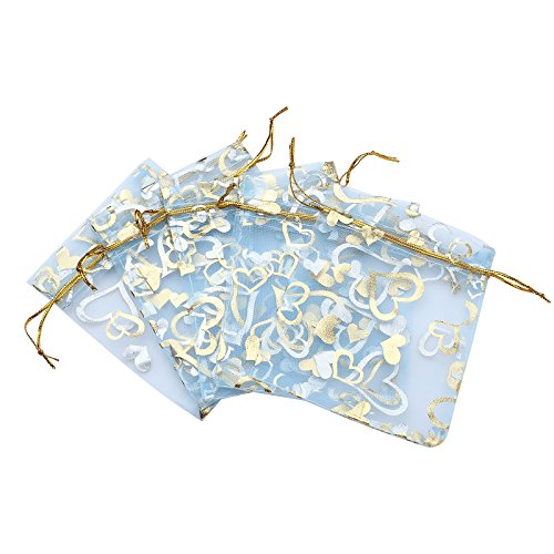 Anleolife 3.5x4.5 inch Blue Organza Bags/Jewelry Pouch Bags/Organza Velvet Drawstring Pouches Wedding Favors Candy Gift Bags 100pcs(light blue heart)