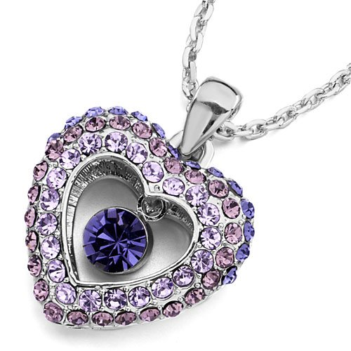 Christmas Gifts Pugster Heart Violet Light Amethyst Tanzanite Swarovski Crystal Dangle Round Pendant Necklace