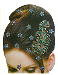 DollsofIndia Golden And Cyan Blue Color Stone Studded Stick-on Hair Decoration (Can Be Used On Other Parts Of...