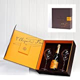 750ml Veuve Clicquot Vintage 2004 Champagne Brut & 2 x Large Branded Flutes in Gift Box - Luxury 18th 21st 30th 40th 50th 60th 70th 80th 90th Birthday, Corporate, Keepsake, Christmas, Xmas Hampers & Gifts, Thank You, Wedding Anniversary, Engagement, Pres