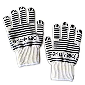 BBQ Cooking Gloves and Oven Mitts - Features Kevlar and Nomex Insulation for Maximum Fire... by Grizzly