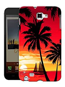"""Humor Gang Sunset And Coconut Trees Printed Designer Mobile Back Cover For """"Samsung Galaxy Note 1"""" (3D, Matte, Premium Quality Snap On Case)"""