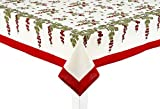 Couleur Nature Gooseberry Tablecloth, 59-inches by 59-inches, Red/Green