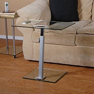 RTA Home and Office T1D-117 NEW Tier One Designs Clear Glass and Aluminum Laptop Stand / End Table