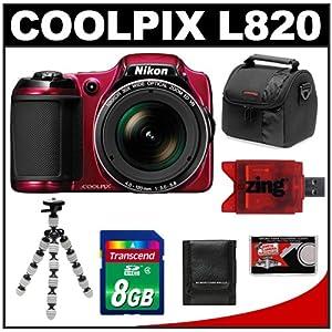 Nikon Coolpix L820 Digital Camera (Red) with 8GB Card + Case + Flex Tripod + Accessory Kit