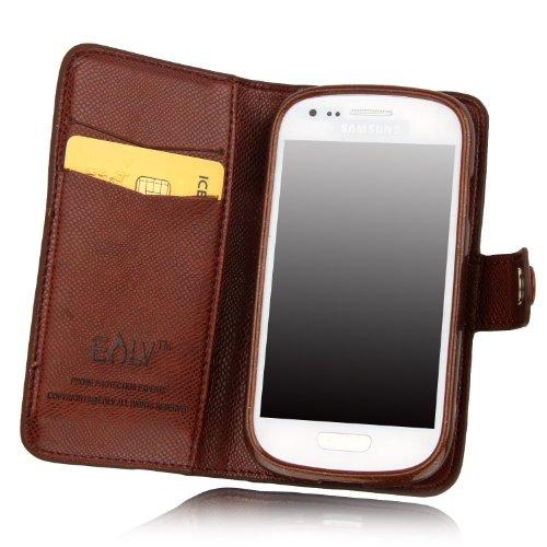Galaxy S3 Mini Case, Galaxy S3 Mini Flip Case - E Lv Galaxy S3 Mini Case Deluxe High Quality Pu Leather Wallet Flip Case Cover For Samsung Galaxy S3 Mini I8190 (Not For Samsung S3) (Brown, Samsung S3 Mini)