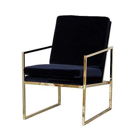 Poltrona in velluto blu comodo relax sdraio in ottone placcato oro finitura rame look con gambe in metallo spugna cuscino poltrone da Evahom