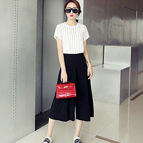 YY Versione coreana dalla primavera all'estate striscia sottile manica corta camicia moda larghi ritagliata jeans. doppione , white , m