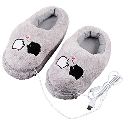 Plush USB Laptop PC Electric Heating Slippers Heated Shoes Foot Warmer Piggy New Gray