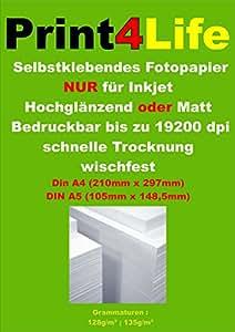 100 feuilles de papier photo A4 adhésif mat étiquettes jet d'encre A4 210 x 297mm 128g / m²