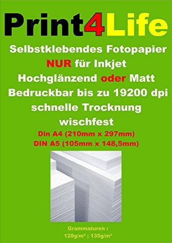 300 feuilles de papier photo A4 adhésif mat étiquettes jet d'encre A4 210 x 297mm 128g / m²