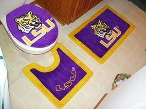 LSU 3 Piece Bath Rug Set Sports Fan Bath