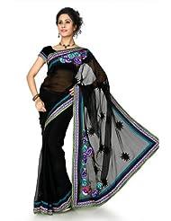 Designersareez Women Chiffon Embroidered Black Saree With Unstitched Blouse(1300)