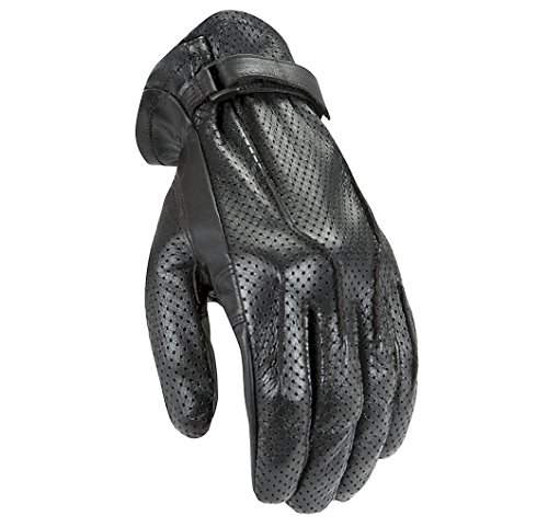 Power Trip Womens Jet Black Perforated Leather Gloves Black Extra Large XL