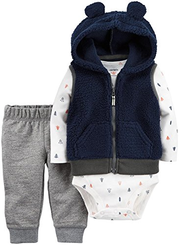 Carter's Baby Boys Vest Sets, Grey, 12M