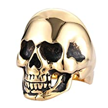 buy Xiangling Jewelry 316L Stainless Steel Polishing Skull Bone Men'S Fashion Punk Rings Size 15 Gold Color