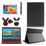 Boriyuan Stylish Luxury Bling Plaid Style Ultra Slim Lightweight Portable Protective Flip Folio Folding Magnetic PU Leather Case Carrying Cover With Multi-angle Viewing Stand Holder Function for New 2014 Samsung Galaxy Tab S 10.5 inch T800 T805 Tablet with Free Touch Stylus Pen and Screen Protector and a Leather Rabbit Pattern Cable Winder (Black)