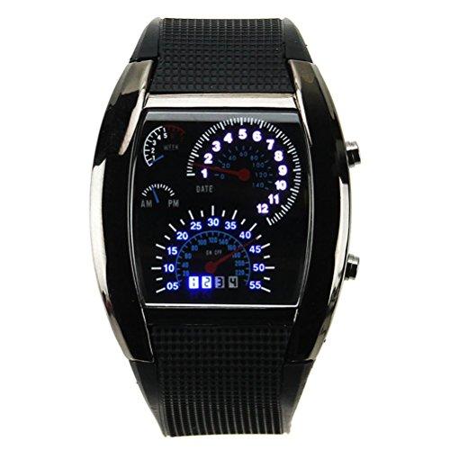 Pixnor Hz4641 Unisex Blue Binary Led Light Dot Matrix Car Meter Dial Waterproof Aviation Wrist Watch With Date /Week (Black)