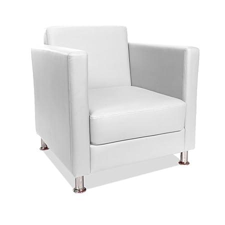 Poltrona imbottita 100% ecopelle bianca arredamento design salotto casa CUBO-B