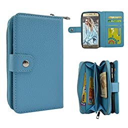 Galaxy S6 Edge Plus Case, TURF Pure Series PU Leather Wallet Zipper Case Detachable Folio Flip Holster Carrying Case with Card Slot Wrist Strap for Samsung Galaxy S6 Edge Plus (Blue)