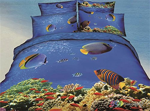 Joybuy Blue Ocean Bedding Blue And White Sea And Comfortable Beach Bedding Sets 3D Oil Painting Duvet Cover Set 3D Bedding Sets Queen 4Pcs
