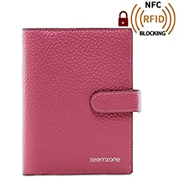 Teemzone Women\'s Leather Business Credit Id Card Case (K828_Rose)