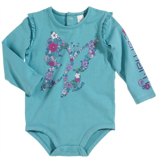 Carhartt Baby-Girls Newborn Long Sleeve Body Shirt Butterfly Flower Fill, Delphinium, 3 Months front-868355