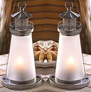 5 frosted white lighthouse theme candle for Amazon wedding decorations