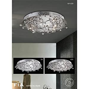 Fia Ceiling Round 6 Light Polished Chrome/Crystal With White Leds from Lighting Creations