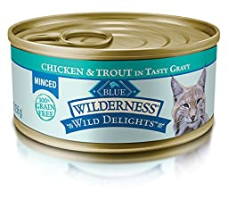 Blue Buffalo Wild Delights Minced Adult Chicken & Trout Wet Cat Food, 5.5 oz Can, Pack of 24