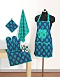 Swayam Grillz Printed Cotton 6 Piece Kitchen Linen Set - Turquoise (KS06-2008 )