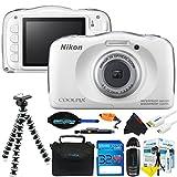Nikon COOLPIX S33 13.2MP Waterproof Shockproof Digital Camera (White) + Pixi-Basic Accessory Bundle