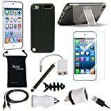 DigitalsOnDemand 12-Item Accessory Bundle for Apple iPod Touch 5th Gen 5G and 6G 6th Generation 16GB 32GB 64GB 128GB - Slim Case Cover, Case with Stand, USB Cables + Chargers, Screen Protector