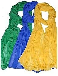 Famacart Women's Ethnicwear Combo Pack Of 3 Chiffon Dupattas - B012GOETR2