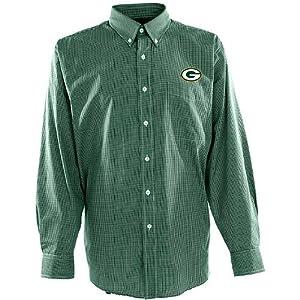 Antigua Mens Green Bay Packers Focus Cotton Polyester Woven Mini Check Button D by Antigua