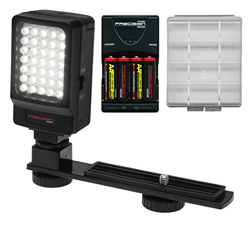 Precision Design Digital Camera / Camcorder LED Video Light with Bracket with Batteries & Charger image