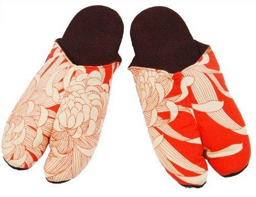 和柄 足袋スリッパ  乱菊と家紋 オレンジ LLサイズ