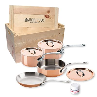 Mauviel M'heritage 150s 6100.02wc Crated 7-Piece Set with Cast Stainless Steel Handle