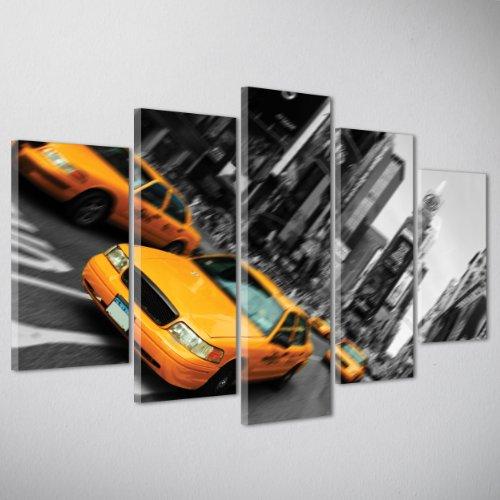 QUADRO MODERNO GIGANTE su Tela Canvas - Citta' NEW YORK DI NOTTE - TAXI GIALLO USA - 170x90cm (cod.009)