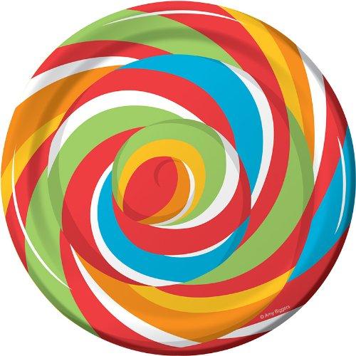 Creative Converting Sugar Buzz Round Dessert Plates, 8 Count