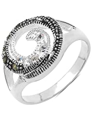 4.00 Grams Marcasite & White Cubic Zircon .925 Sterling Silver Ring