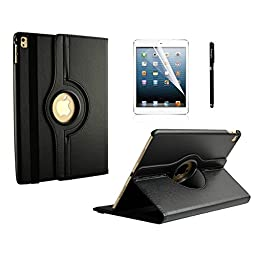 iPad Pro 9.7 Case, inShang Smart Cover for iPad Pro 9.7 inch (2016) Stand With Auto Sleep Wake Function, 360 Degree Rotating 1pc business Stylus + HD screen protector black