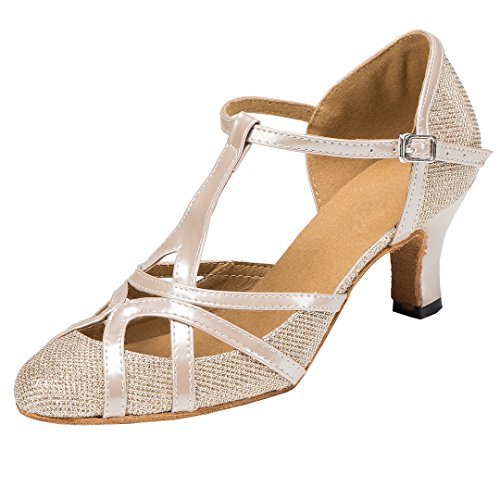 TDA Womens Mid Heel 6cm Champagne PU Leather Salsa Tango Ballroom Latin Party Dance Shoes CM101 8.5 M US