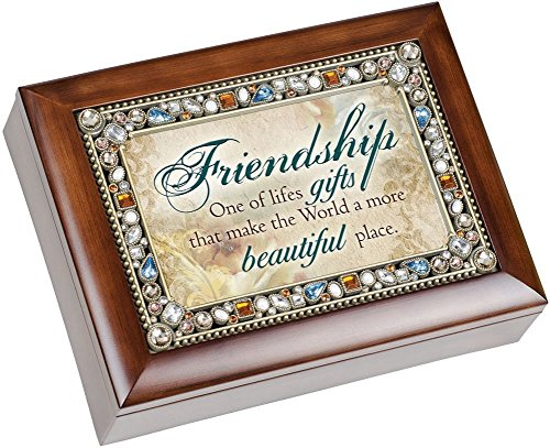 Friendship Life's Gifts Jewel Musical Music Jewelry Box with Dark Wood Finish Plays That's What Friends Are For
