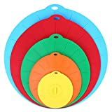 Soledi Silicone Lids, Silicone Universal Suction Lids - Reusable Food Saver Covers For Bowls, Pots, Cups 5 Sizes