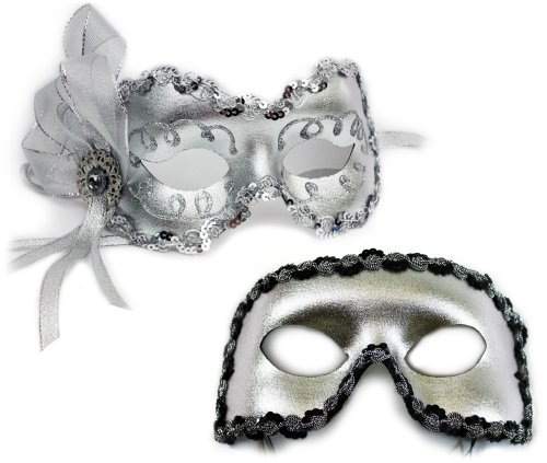 Angelina-Fernando Silver Masquerade Masks for a Couple