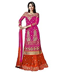 Meera Women's Raw Silk Unstitched Dress Material (KSR3_Pink Orange)