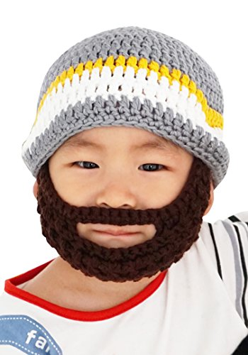 Kid's Bearded Beanie Hats, Striped Face Mask,Grey Color