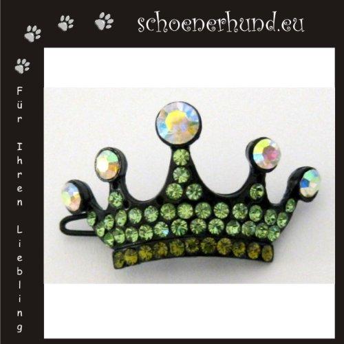 Artikelbild: Haarschmuck für Hunde mit funkelnden Strass - Exklusive Haarspange von Dogs Stars - Krone grün