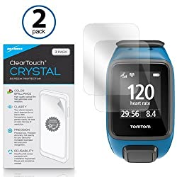 TomTom Spark Screen Protector, BoxWave [ClearTouch Crystal (2-Pack)] HD Film Skin - Shields From Scratches for TomTom Spark